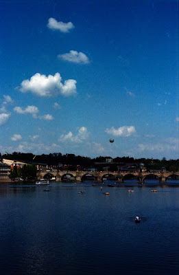 Prague - Vltava river and a balloon