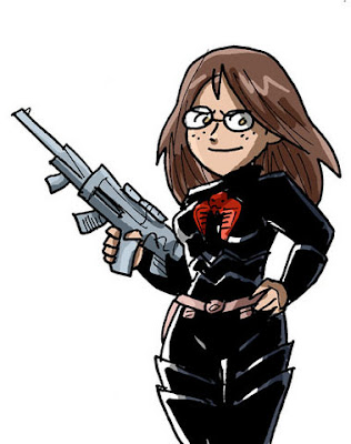 Any pic of the Baroness is a good pic, but David Willis's cartoony style is a nifty change of pace.