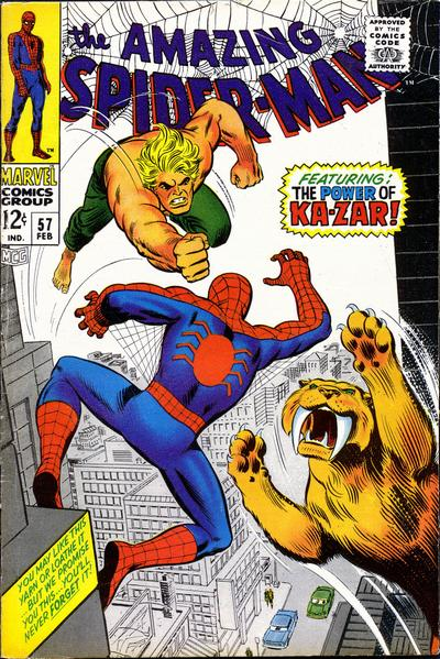 Amazing Spider-man #57, vs Ka-Zar and Zabu