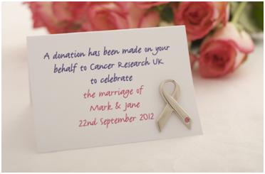 S Can Request Personalised Favours Cards To Accompany The Pin Badges Cancer Research Uk Wedding Are A Meaningful Keepsake And Perfect