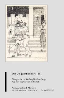 Die Abbildung auf dem Vorderdeckel zeigt eine Original-Lithographie von Rolf Schott aus Katalognummer 423