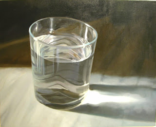 Original Oil Paintings: Glass of Water Oil Painting