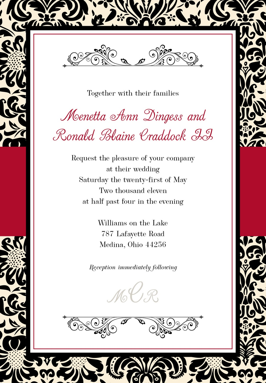 mkaydesigns: Black, Red, White and Ivory Damask Invitation