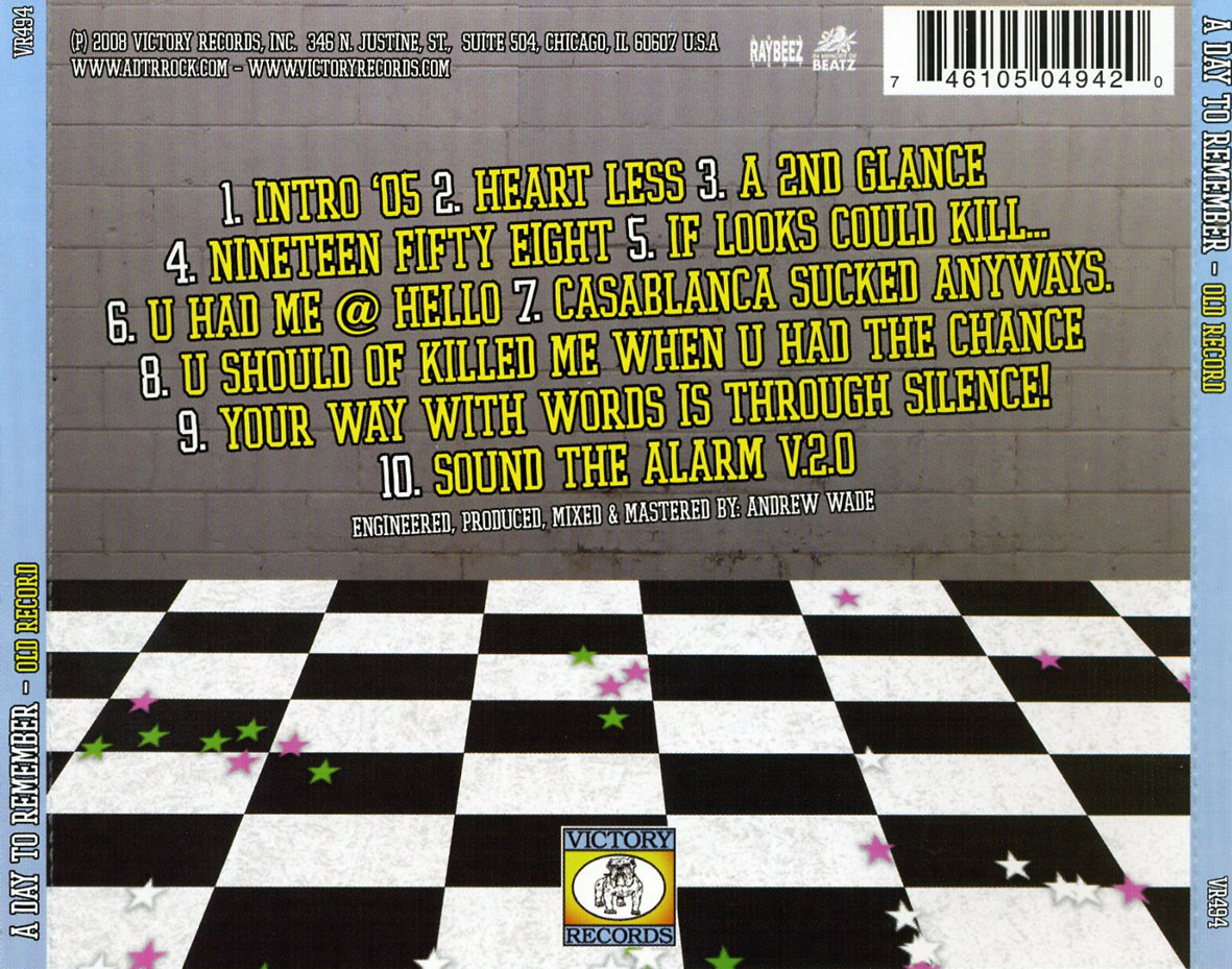 CARATULAS DE CD DE MUSICA: A Day To Remember (Old Record ... A Day To Remember Old Record