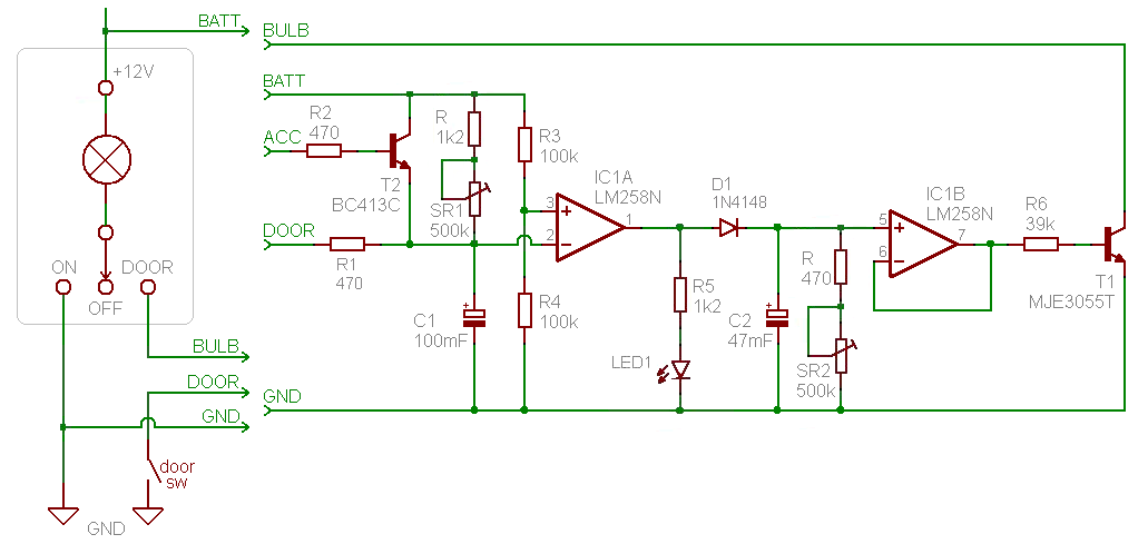 Dome Light Dimmer  With Delay  Schema