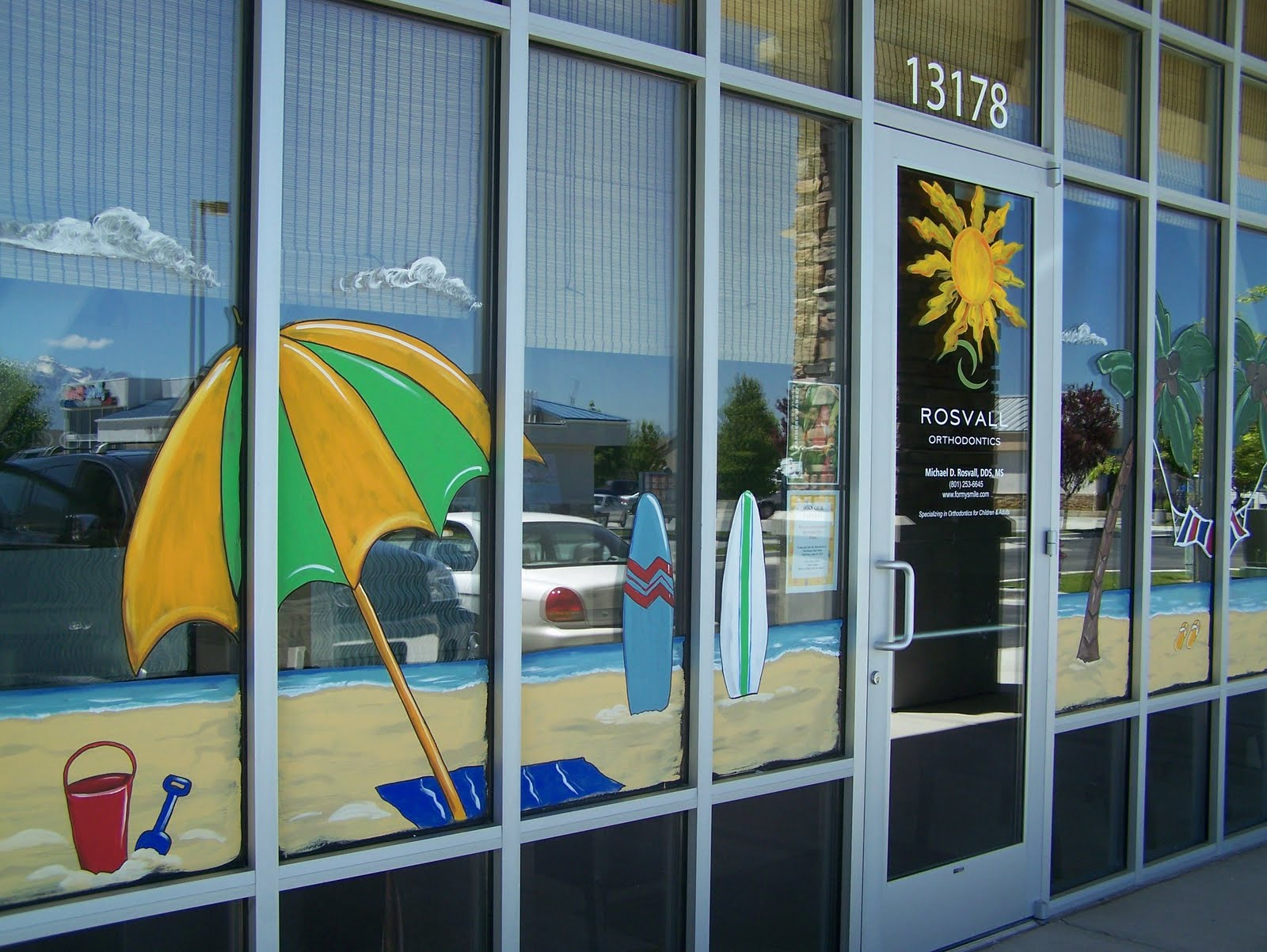 Bawden Fine Murals: window painting/ seasons Spring,Summer
