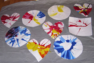 Spin art project for kids using a salad spinner