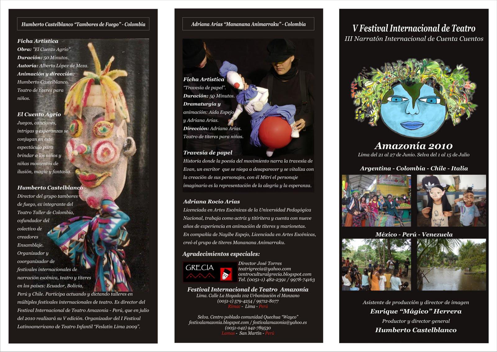 Festival de Teatro Amazonia Trptico de la selva