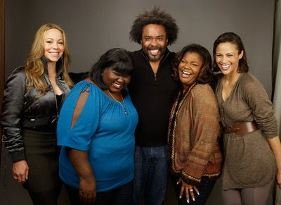 L-R: Mariah Carey, Gabourey Sidibe, Lee Daniels, Monique, Paula Patton