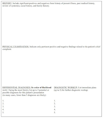 USA Residency criteria Patient Note writing paper - patient note
