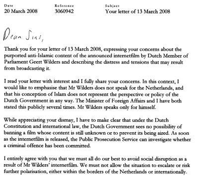 Balkenende letter to Muslims