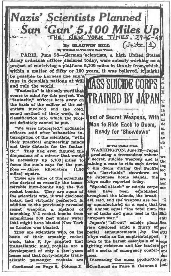 """Статья в """"Нью-Йорк Таймс"""" от 29 июня 1945 г. о нацистском орбитальном солнечном зеркале, которое немцы собирались построить и использовать в качестве """"сверхоружия""""."""