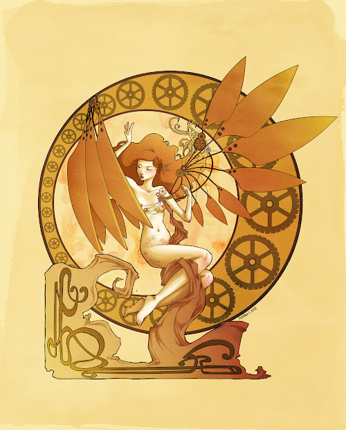 Steampunk Art Nouveau Illustration
