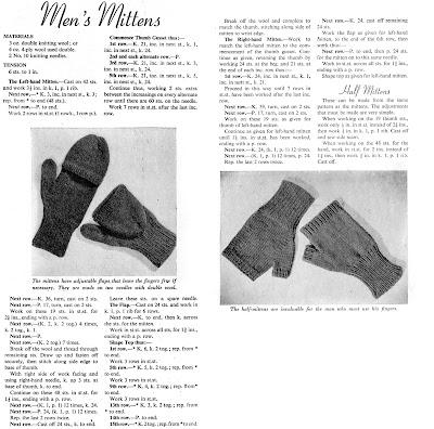 1940's Knitting - Mens Mittens free pattern
