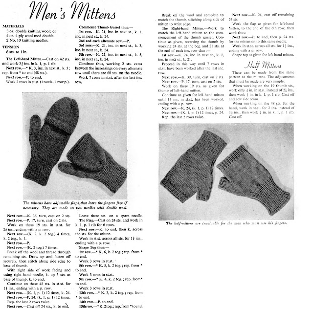 1940's FREE Knitting Pattern - Mens Mittens