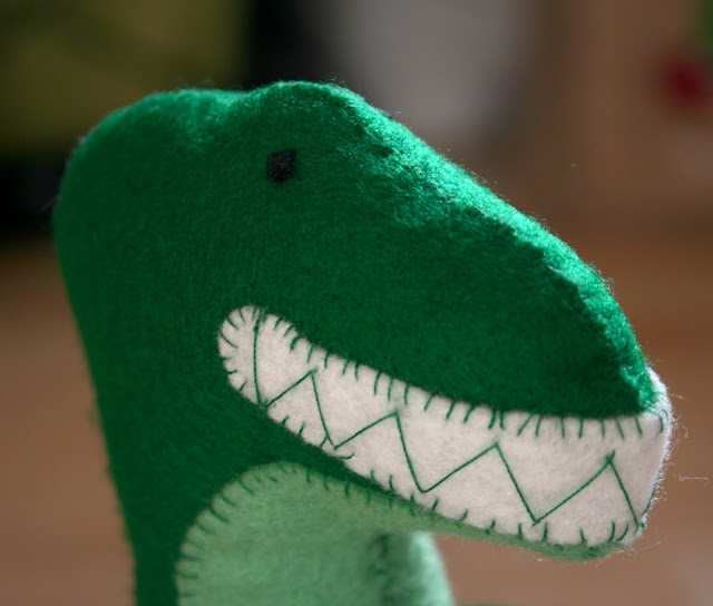 Felt Dinosaur Toy close up of head and teeth