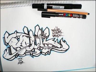 как научиться рисовать граффити на бумаге.