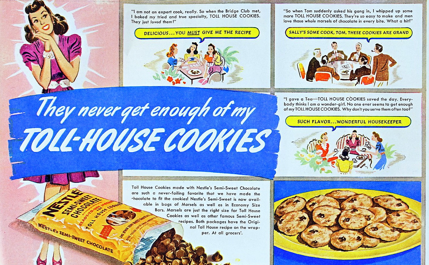 Dying For Chocolate Toll House Cookies Vintage Ad