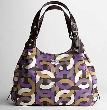 Coach Madison Chain Link Maggie 14420 Op Art Chainlink Print Sa With Glazed Cowhide Leather Measures Roximately 13 L X 12 H 3 W