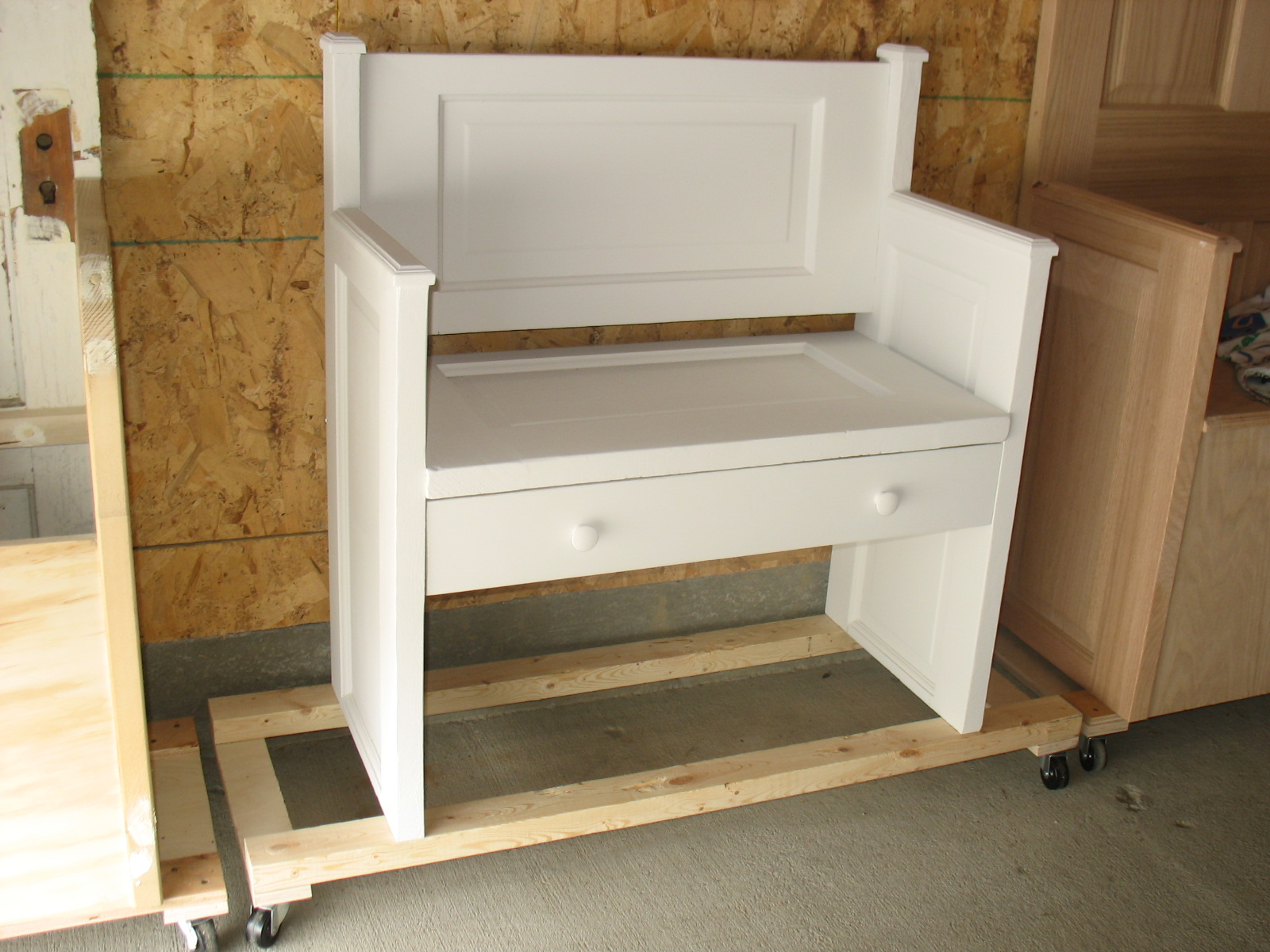 Door Furniture Small Church Pew Style Bench With A Drawer