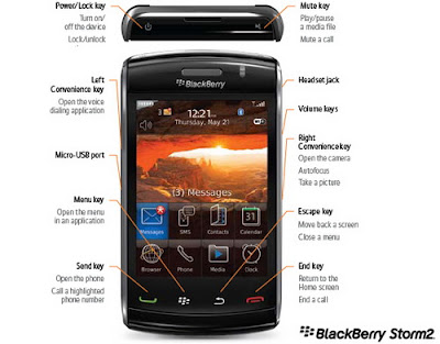 BlackBerry Storm2 9550 Smartphone keys