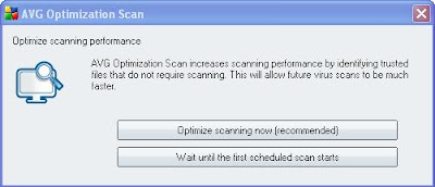 AVG AntiVirus Free optimization scan increases scanning performance