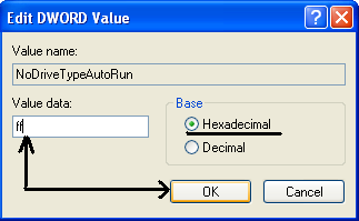 edit Value data of DWORD Value NoDriveTypeAutoRun