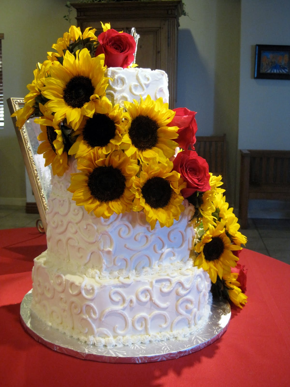 wedding cakes with sunflowers and roses discover and save creative ideas 26125