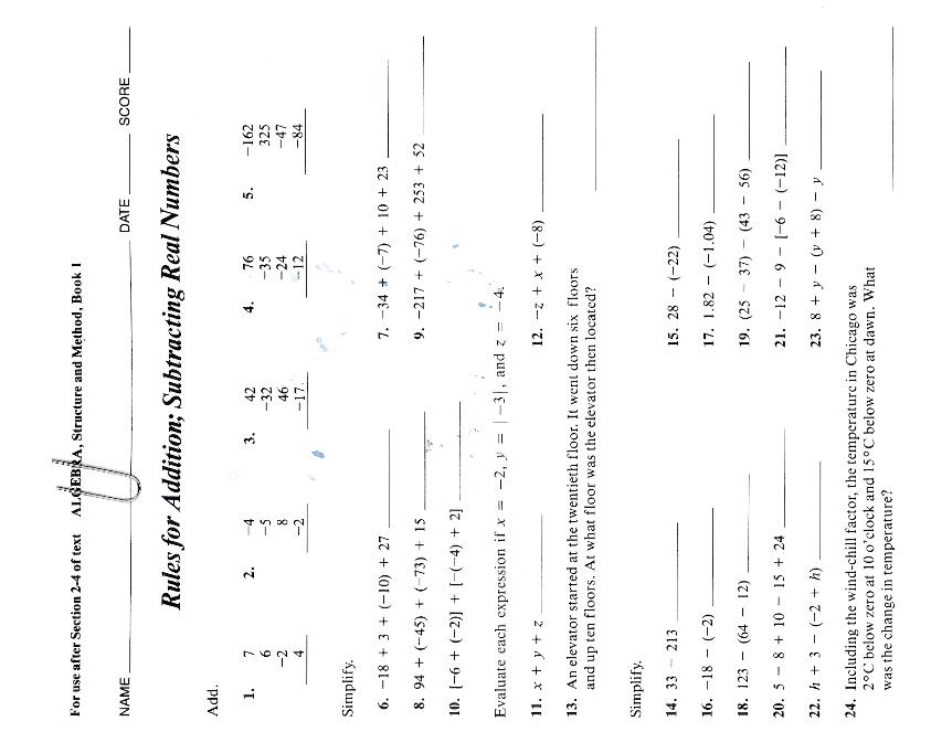 Slavens 8th grade math: 2011