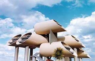 Renderizado de un proyecto de casas diseñadas en tubos elevados