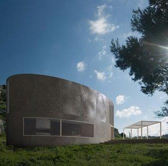 Perspectiva de una casa con estructura elíptica