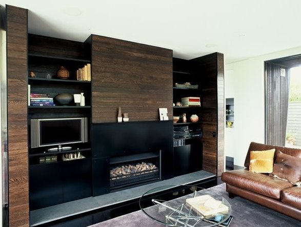 Sala de estar en residencia moderna de Auckland, Nueva Zelanda