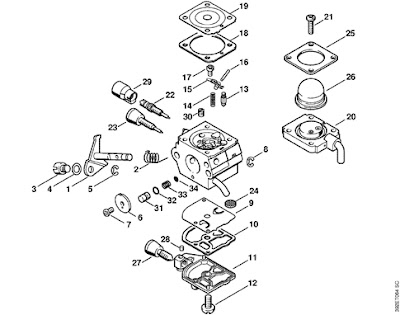stihl chainsaw parts diagram besides stihl fs 55 carburetor diagram