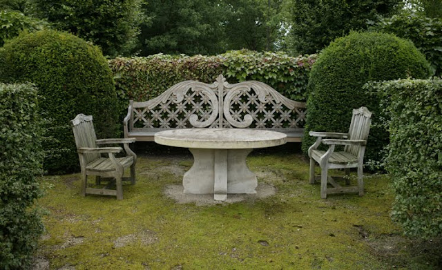 Axel Vervoordt, outdoor living. stone bench & table, secluded seating area, edited by lb for linenandlavender.net