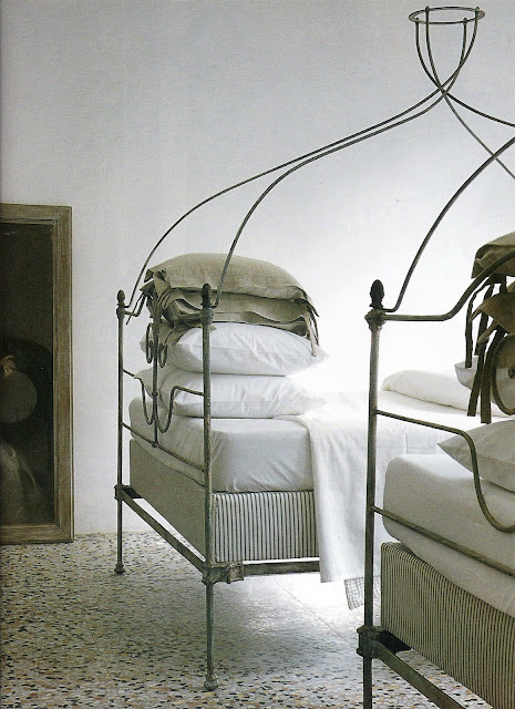 Wrought iron twin beds, Côté Sud, Aout-Sept 2001 as seen on linenandlavender.net