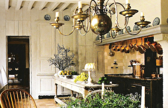 Kitchen by Axel Vervoordt, from Timeless Interiors pg. 239, edited by lb for linenandlavender.net (l&l)