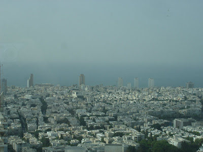 Looking out to sea from the Azrieli Tower observatory