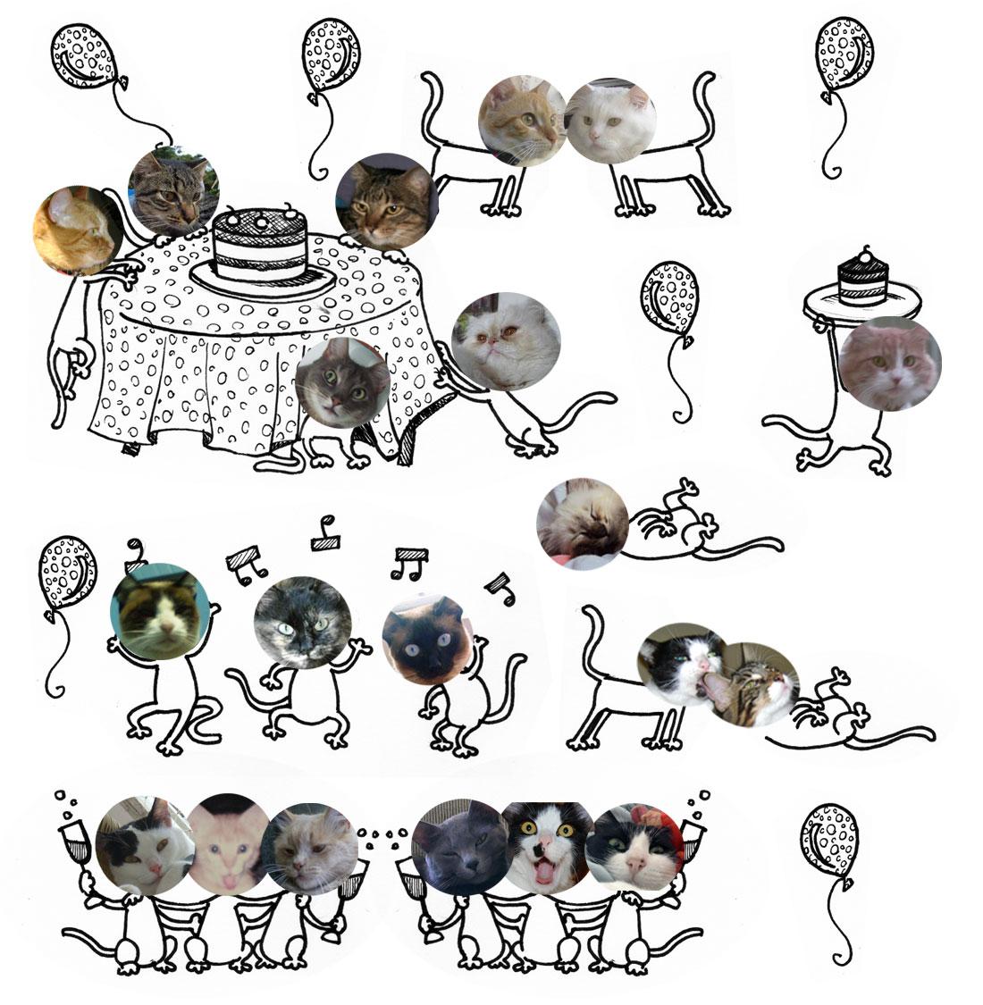 64b6a8476 Quase 150 bichanos quiseram participar da brincadeira, então decidimos que  a festa vai durar uma semana inteira! A cada dia, aparecem novos gatos.