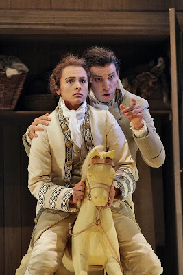 Isabel Leonard (Cherubino, on horse) and Luca Pisaroni (Figaro) in Le Nozze di Figaro, sets and costumes by Paul Brown, Santa Fe Opera, 2008 (photo © Ken Howard)