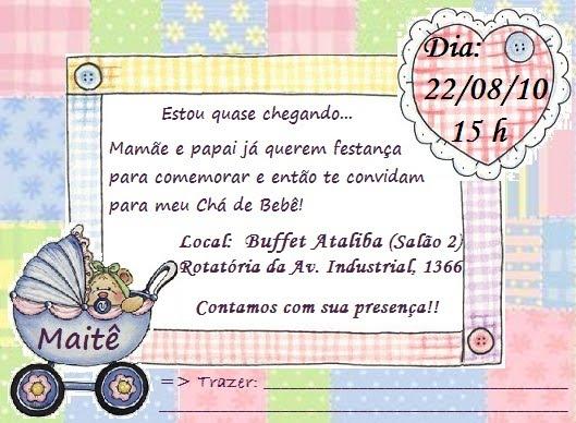 Mensagem De Convite De Cha De Fralda