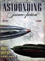 Cover image by Timmins of Astounding Science Fiction magazine, May 1945 issue. It illustrates the story First Contact by Murray Leinster.