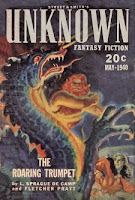 Cover by M Isip of Unknown Fantasy Fiction magazine, May 1940 issue