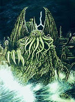 An illustration of alien priest Cthulhu in his under water city Rlyeh from H P Lovecraft story The Call of Cthulhu