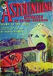 Cover image of magazine called Astounding Stories of Super-Science, February 1930 issue. Image was painted in water colors by H W Wessolowski from a scene in the included story titled Spawn of the Stars by Charles Willard Diffin. Click image for full sized original scan image.