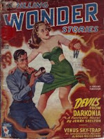 Cover image of Thrilling Wonder Stories magazine, Spring 1945 issue. It is a painting by Earle Bergey, and depicts a scene in the story Devils from Darkonia by Jerry Shelton