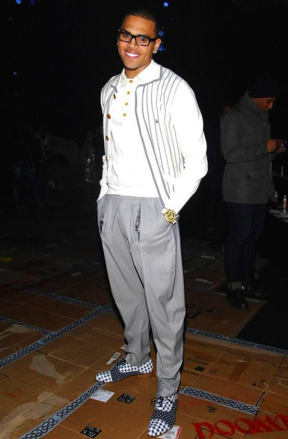 b1ed99bbf1d Below  Chris Brown at the Vivienne Westwood Fall Winter 2010 Mens Runway  Show... check out those cool shoes!