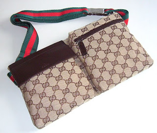 4c9b06a933d6 Gucci Belt Bag With Beige/Ebony GG fabric And Dark Brown Leather Trim
