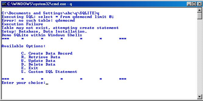 Hello World!: Executing SQL query using SQLite  Windows Batch Script