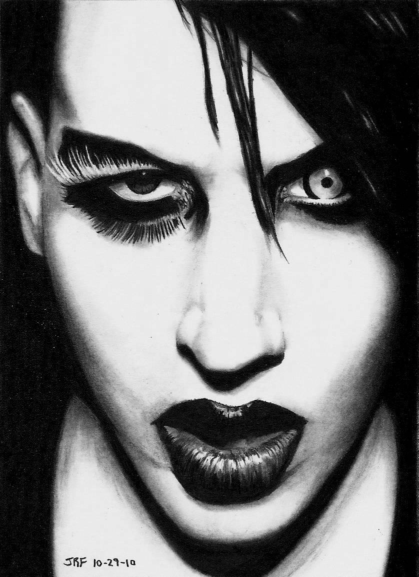 Go to DrPencil.com: Drawing of Marilyn Manson