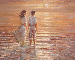 Resultado de imagen para pareja frente al mar pintura